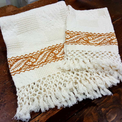 Set of bath towels hand printed fringed bertozzi