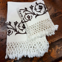 Set bath towels with knotted fringed Bertozzi