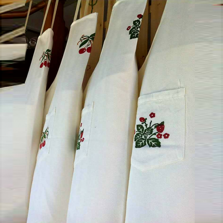 Hand-printed apron with strawberries decoration by bertozzi