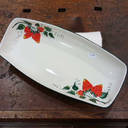 Small ceramic serving dish decorated strawberries
