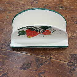 Ceramic napkin holder decorated with strawberries
