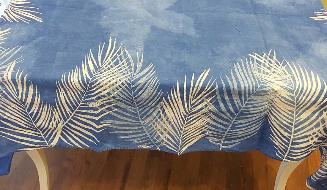 Pure crumpled Linen Tablecloth palm collection Bertozzi