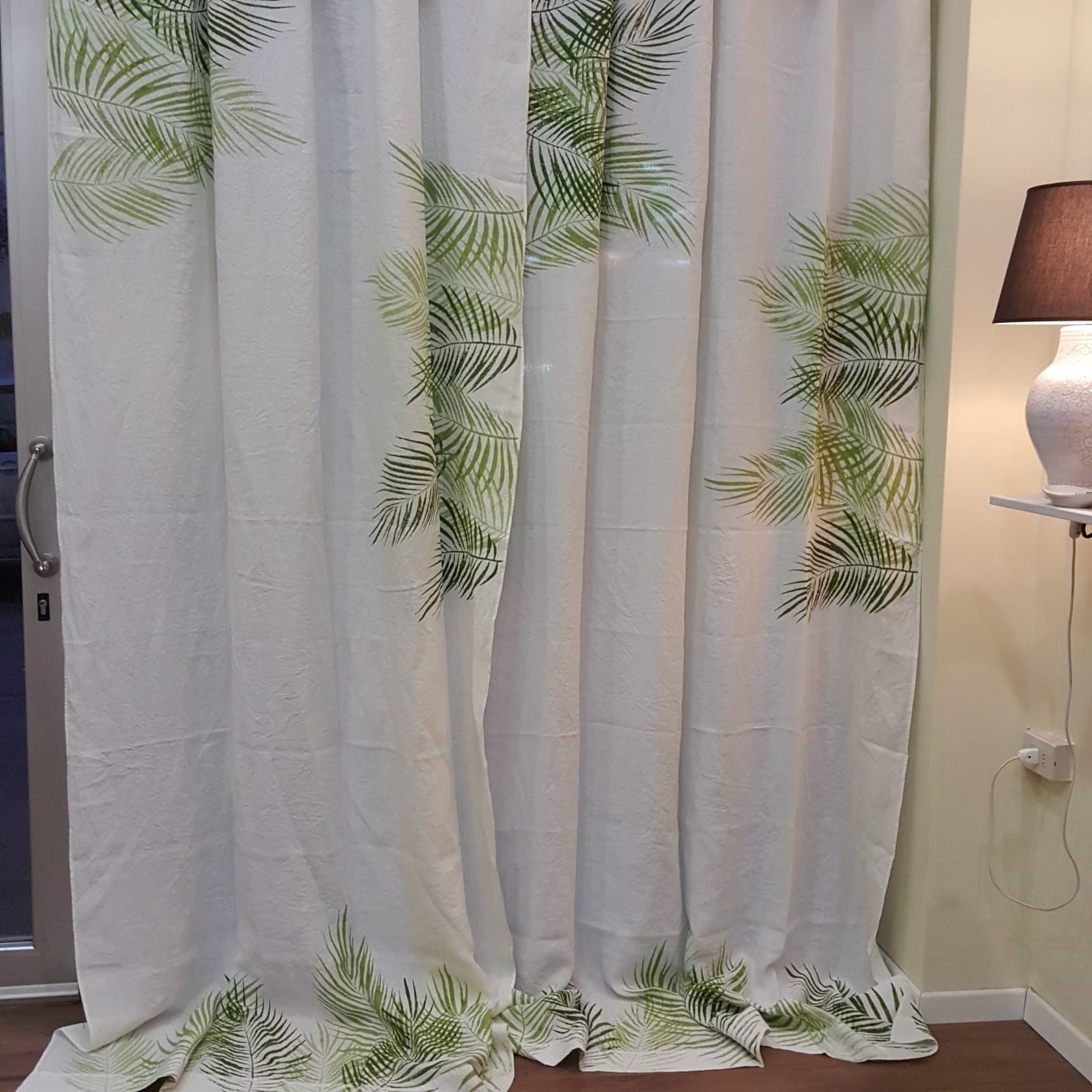 Natural linen curtains palm print by bertozzi